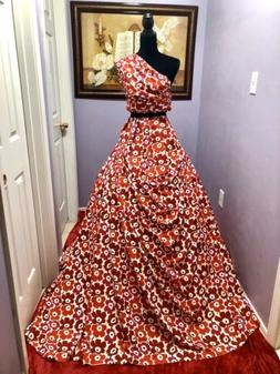 6 Meters Princess Red Floral Italian Silk Light Weight Soft